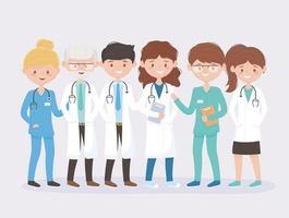 set di caratteri sorridenti di specialisti della salute vettore