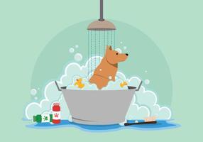 Illustrazione di lavaggio del cane