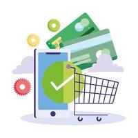 pagamento online ed e-commerce tramite app mobile vettore