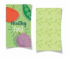 banner ristorante con prodotti e foglie impostate