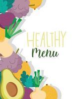 menu sano del ristorante con banner di sfondo di prodotti