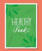 scritte di cibo sano in un modello di banner verde