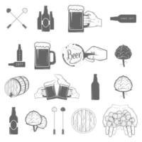 set di icone disegnate a mano in stile birra artigianale