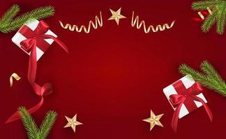 felice anno nuovo, elementi decorativi di design natalizio con scatola regalo e orpelli rossi. poster natalizi orizzontali, biglietti di auguri. oggetti visti dall'alto. vista piana, vista dall'alto