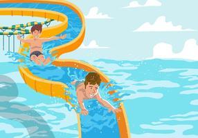 Acquascivolo sulla piscina vettore