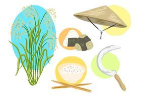 Raccolta gratuita di campi di riso vettore