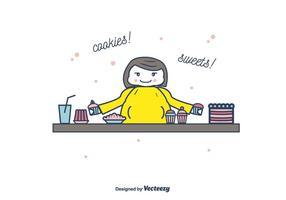 Vettore grasso dei biscotti e della donna