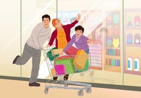 Acquisto della famiglia nel supermercato vettore