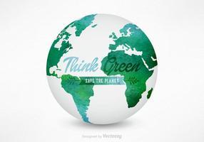 Vettore del globo della mappa di mondo dell'acquerello 3D