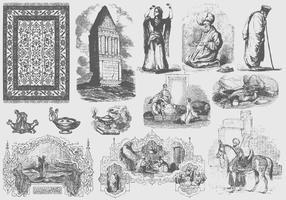 Illustrazioni arabe grigie vettore