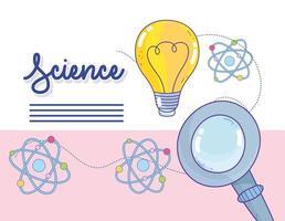 innovazione e scienza con le icone della molecola dell'atomo