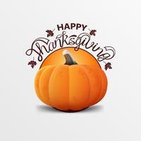 felice biglietto di auguri del ringraziamento con foglie di autunno e zucca