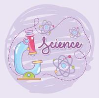scienza e microbiologia con microscopio e molecole di atomi