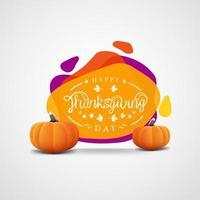 modello di banner di ringraziamento con forme astratte e zucche