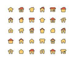 set di icone di contorno pieno casa