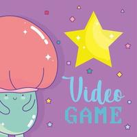 personaggio a forma di fungo con scritte di videogiochi e una grande stella