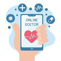 mano che tiene uno smartphone con assistenza sanitaria online