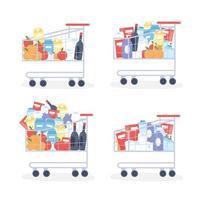 carrelli della spesa del supermercato con prodotti per la pulizia e set di cibo