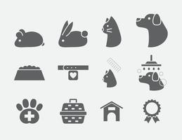Icone di cura dell'animale domestico grigio vettore