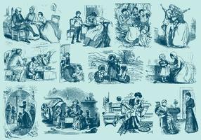 Illustrazioni di persone d'epoca vettore