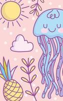 carta di meduse blu kawaii o modello di banner