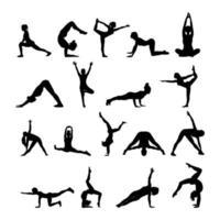 sagome di yoga a figura nera vettore