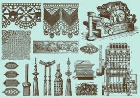 Industria del merletto e del tessuto vettore