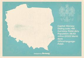 Retro illustrazione della mappa della Polonia di stile vettore