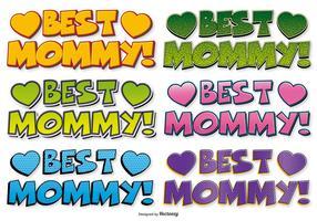 Migliori etichette di stile Comic Mommy vettore