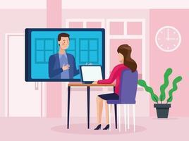 uomini d'affari in riunione online