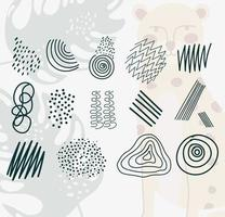 una serie di scarabocchi contemporanei disegnati a mano