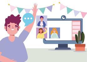 amici che si divertono in una riunione online