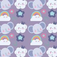 piccolo elefante facce con sfondo pattern di nuvole