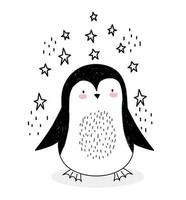 piccolo pinguino con stelle in stile schizzo