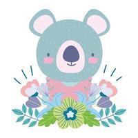 carino koala con fiori e fogliame