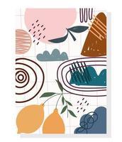 disegno a mano di frutta e scarabocchi contemporanei