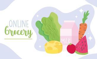 modello di banner di acquisto di generi alimentari online con prodotti e latticini