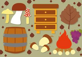 Elementi di vettore di autunno piatto