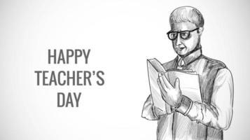 insegnante maschio di schizzo disegnato a mano con sfondo di giorno di insegnanti