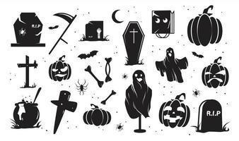 insieme della siluetta di Halloween