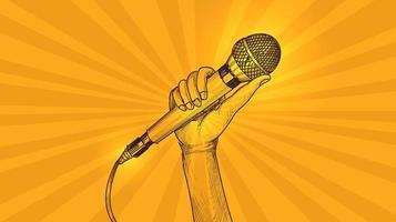 mano con microfono schizzo sfondo giallo vettore
