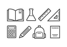 Set di icone di scuola vettore