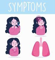 ragazza bruna con set di icone di sintomi di malattia