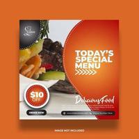 banner di cibo menu speciale arancione colorato per i social media