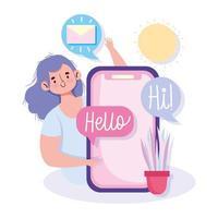 giovane donna con smartphone e messaggi di posta elettronica vettore