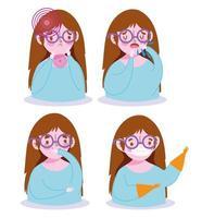 ragazza con sintomi di malattia e set di icone di prevenzione