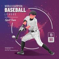 design del volantino della lega di baseball vettore