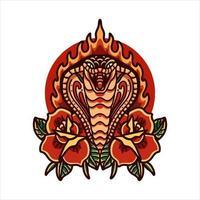 cobra con rose tatuaggio vettore