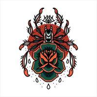 ragno e rosa tatuaggio vettore