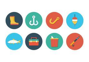 Set di icone di pesca gratis vettore